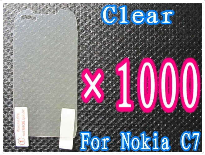 1000pcs/lot+Clear Screen Guard For Nokia C7,No Retail Package DHL/EMS Free Shipping