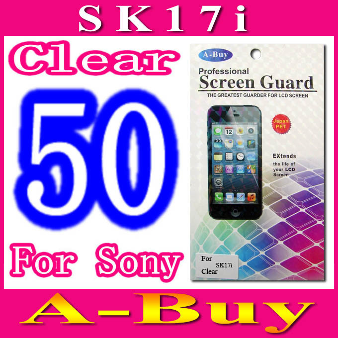 Clear Screen Guard Film For Sony Ericsson Xperia mini pro SK17i,With Retail Package,50pcs/lot