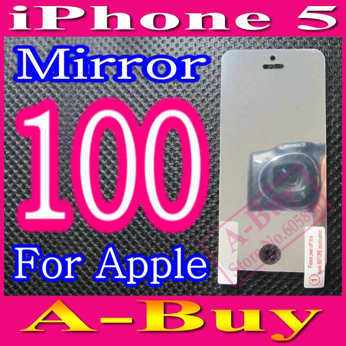Mirror Screen Protector Film For iPhone 5 5G iPhone5,No Retail Package,100pcs/lot