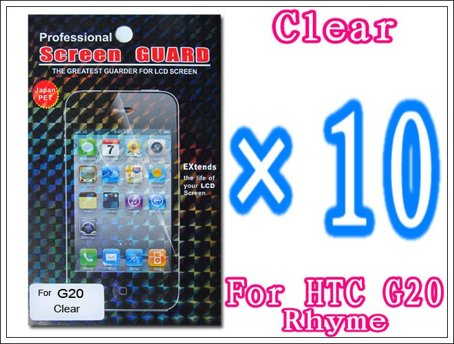 10pcs/lot+Clear Screen Protector Film For HTC Rhyme G20 S510b,With Retail Package