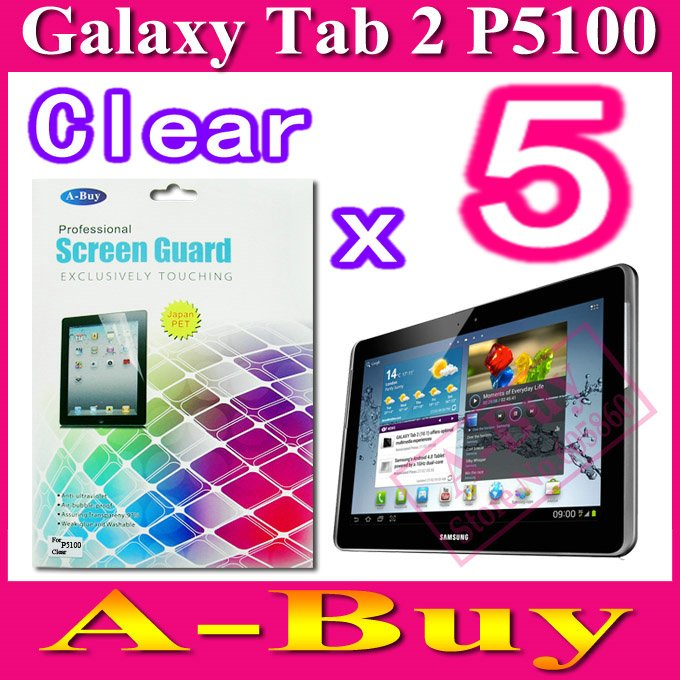Clear Screen Guard Film For Samsung Galaxy Tab2 Tab 2 P5100 P5110,With Retail Package + 5pcs/lot