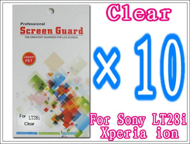 10pcs/lot+Clear Screen Guard Film For Sony Xperia ion LT28i,With Retail Package