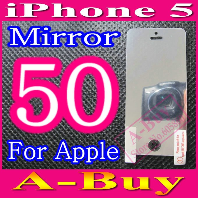Mirror Screen Protector For iPhone 5 5G iPhone5,No Retail Package,50pcs/lot