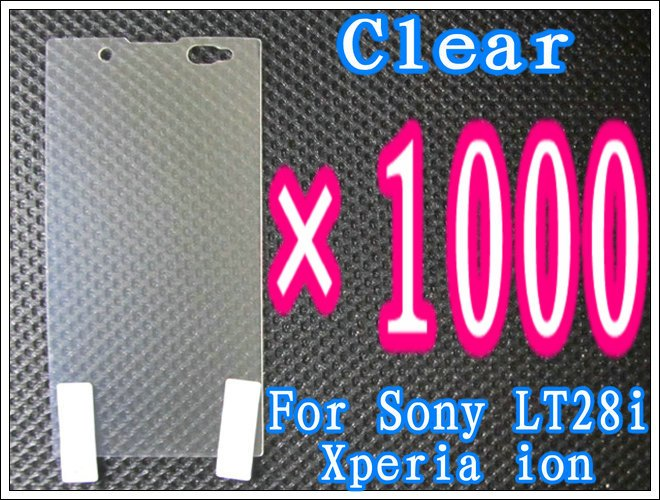 1000pcs/lot+Clear Screen Guard For Sony Xperia ion LT28i,No Retail Package DHL/EMS Free Shipping