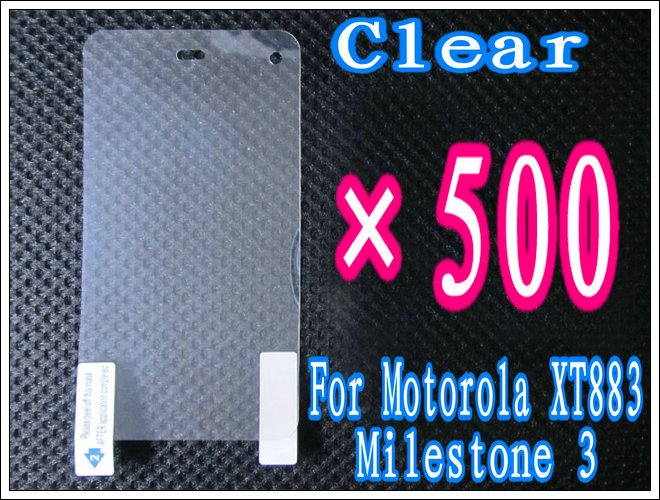 500pcs/lot+Clear Screen Protector For Motorola XT883 Milestone 3,No Retail Package DHL/EMS Free Shipping