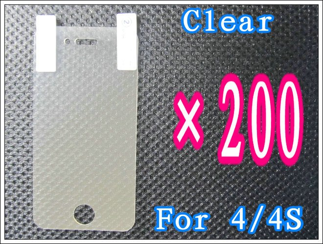 200pcs/lot+Clear Screen Guard For iPhone 4 4G 4S,No Retail Package DHL/EMS Free Shipping