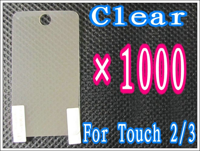 1000pcs/lot+Clear Screen Protector For iPod Touch 2 3 2G 3G,No Retail Package DHL/EMS Free Shipping