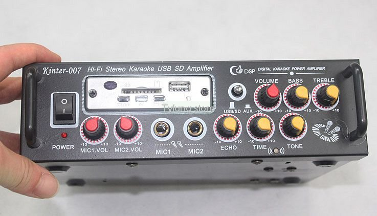 FreeShipping @ MA-007 12V / 220V Remote Control Amplifier FM / SD card / U disk Karaoke Power Amplifier