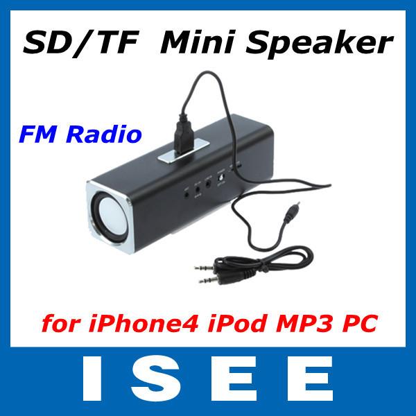 Sports MP3 Player Mini Mobile Music Speaker Micro SD/TF Music FM Radio Mini Speaker for iPhone4 iPod MP3 PC Free shipping