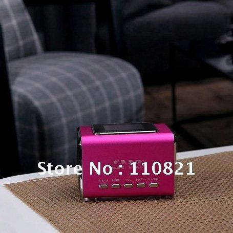 Free Shipping MUSIC ANGEL Mini Speaker JH-MD05X Support USB Flash Drive/Micro SD/TF card/FM/Clock Alarm/Lyrics/Calendar/Line in