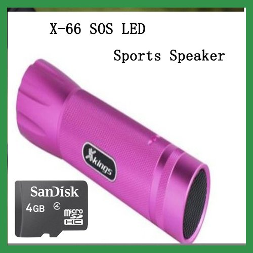 Free Shipping New X-66 SOS LED speaker mini speaker LED lighting system for laptop  led speaker lights rose+ 4G Micro SD Card