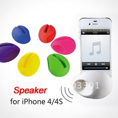 10pcs/lot  for iPhone 4 Cute EGG Syle stand dock amplifier speaker,  soft silicone speaker for iPhone 4s gift, free ship