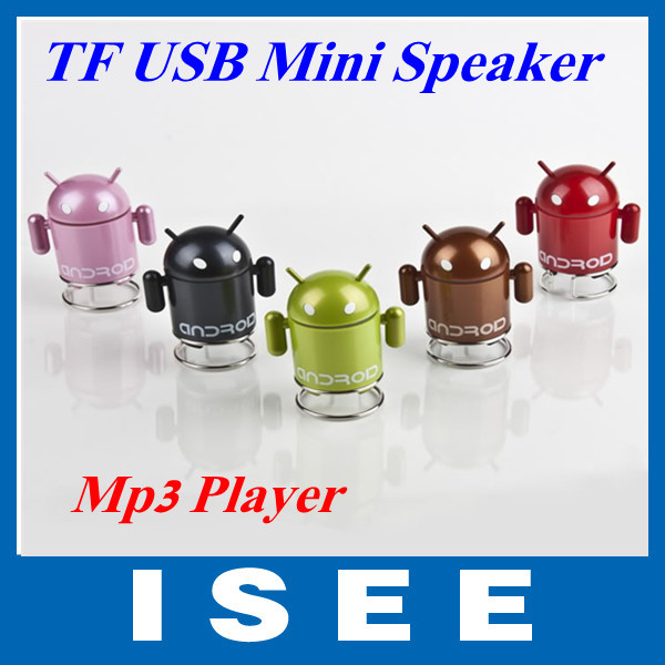 5PCS/LOT Android Robot Portable Mini Speaker Mp3 Player with TF USB port Computer Speakers Sound box Free shipping