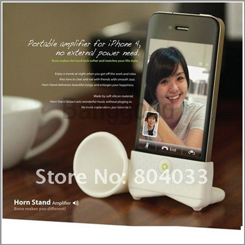 40pcs/lot  Horn Silicone Stand Amplifier Speaker Case for iPhone 4 4S 4G,Portable Loudspeaker, Free shipping