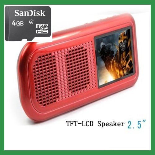 "Free Shipping New M-20 2.5"" TFT-LCD speaker music USB player for MP3 speakers 2W speaker X 1 & 1G internal Memory red+4G SD Card"