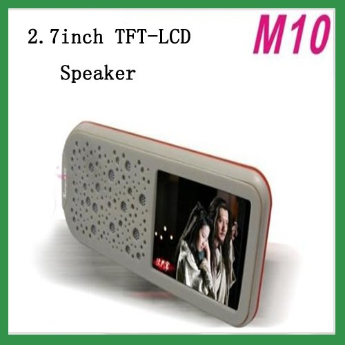 Free Shipping New M-10 2.7inch TFT-LCD mini speaker Supports MP3,MP4 & Photo Display 2W speaker X 1 & 1G internal Memory white;