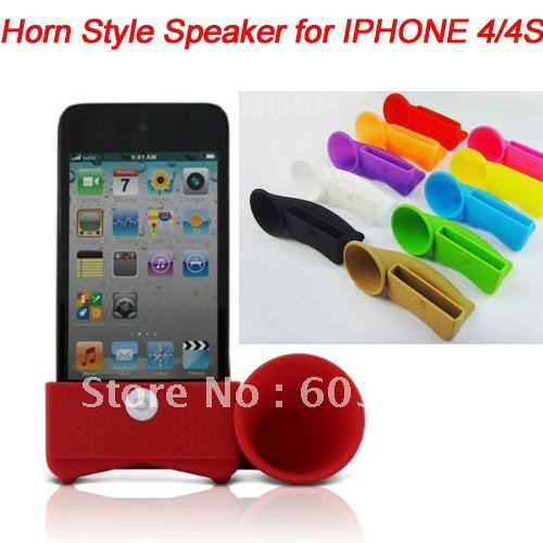 10pcs/lot HORN style amplifier dock speaker for iphone 4, silicone speaker stand for iphone 4g/4gs, many color, free shipping