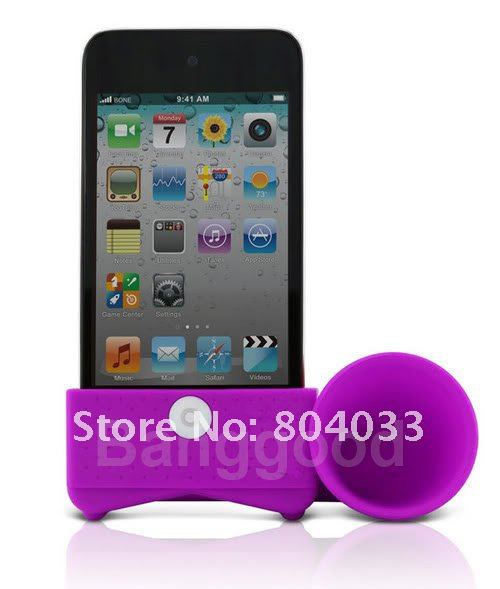 50pcs/lot Horn Stand Amplifier Portable Speaker for iPhone 4 4G 4S,No external power + Environmental Protection, Free shipping