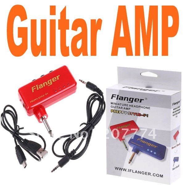 Flanger Red Miniature Portable Headphone Guitar AMP Amplifier Free shipping