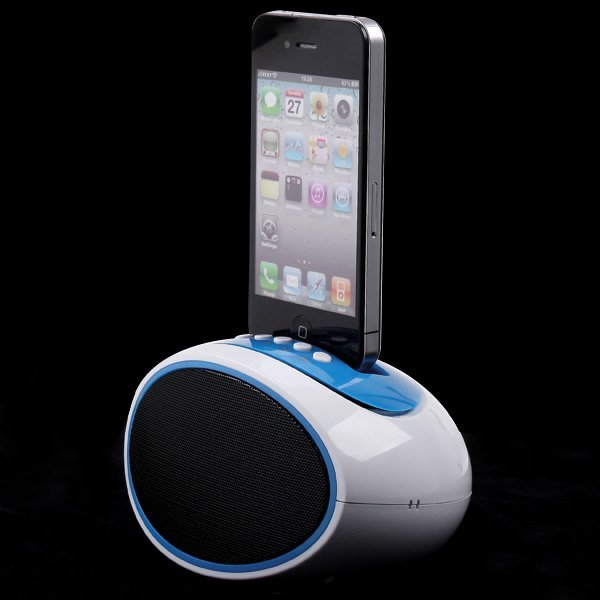 Portable Mini Speaker for Apple iPhone 4/4S TF Card USB Disk FM Radio Line Blue Color,Free Shipping
