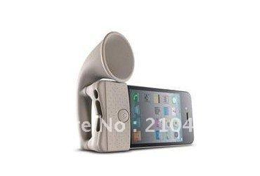 White Silicone Horn speaker loud Speaker for iphone4 Environmental Protect mini speaker 1pcs/lot