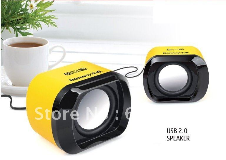 1pair x Mini Digital Portable Speaker,Subwoofer USB2.0  Multi-Media Speaker(Yellow,Black)--Free Shipping