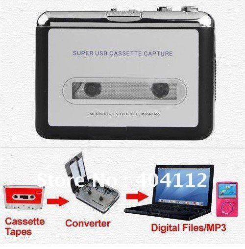 Free shipping!Tape to PC Super Portable USB Cassette-to-MP3 Converter Capture,USB cassette capture