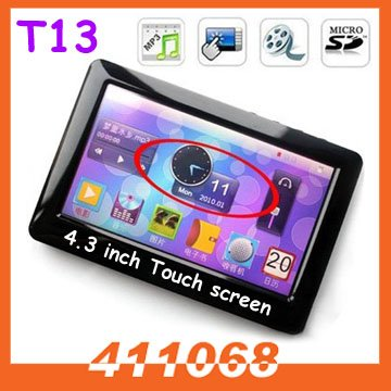 8GB 4.3 inch Touch screen  portable  MP4 MP5 Player T13 with e-book reader and FM free shipping