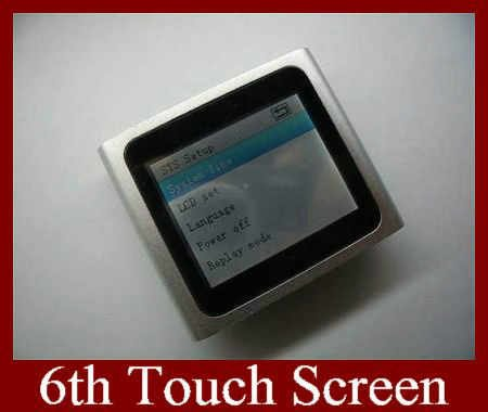 Real 8GB 6TH Gen Generation Touch Screen MP3 MP4 Player 7 Colors Can Choose Logo 1pc 1pcs Free Shipping