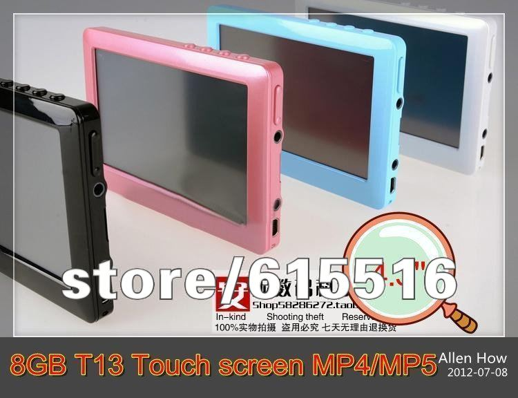 4.3'' HD Touch screen 8GB T13 MP4 MP5 player TV-out Video,games,ebook reading,FM radio Free singapore post shipping(not UPS/EMS)