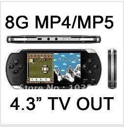 FREE shipping 8GB 4.3 inch Video Game Console Player 1.3 M Camera MP3 MP4 MP5 + 2000 games