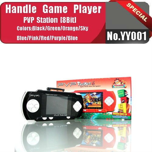 No.YY001 BLACK 2012 Hot sale 8 bit PVP Cartoon Game player with 2.7inch color LCD screen,built-in 888888 games
