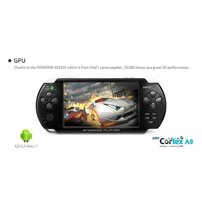 JXD V5200 5 Inch Touch screen Android 2.3.4 handheld Game Console with Camera Black