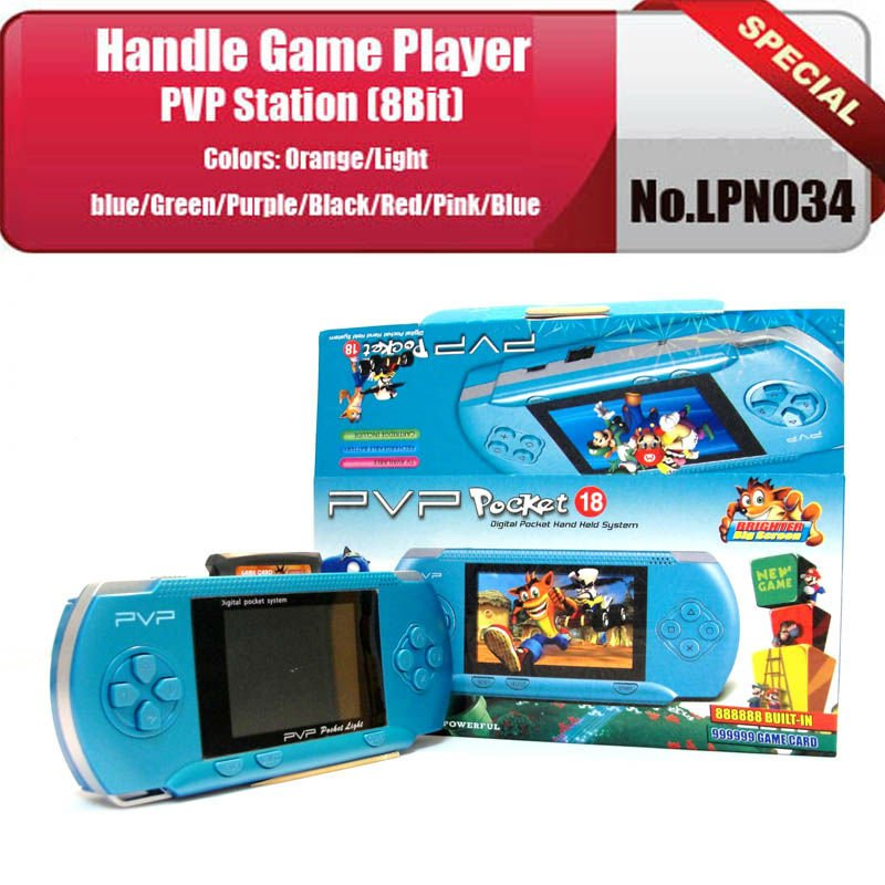No.LPN034 50pcs/lot Dark blue 2.7inch color LCD Games player/ PVP Station(8Bit) Handheld game consoles+Game card
