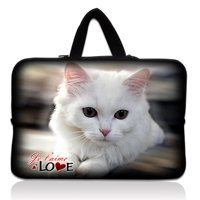 """10"""" White Cat Laptop Sleeve Bag Case Pouch + Hide Handle For 10.1"""" ASUS Eee Pad TF10 Tablet PC"""