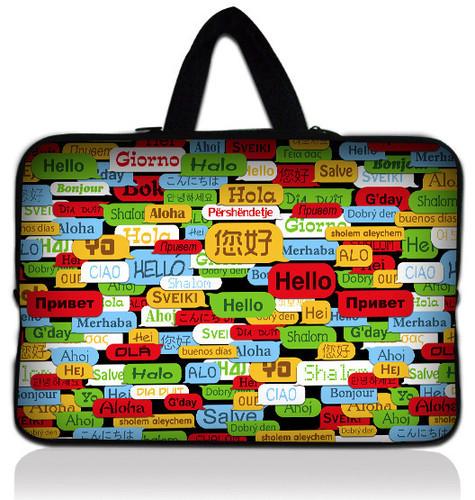 "Hello 14"" 14.1""  Soft Neoprene Laptop Carrying Bag Sleeve Case Cover Holder+Hide Handle"