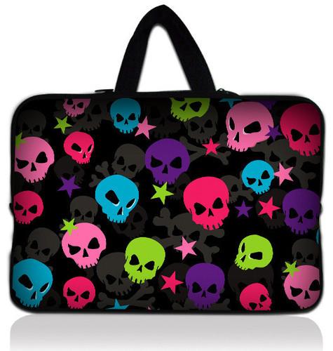 "Colorful Skull 14"" 14.1""  Soft Neoprene Laptop Carrying Bag Sleeve Case Cover Holder+Hide Handle"