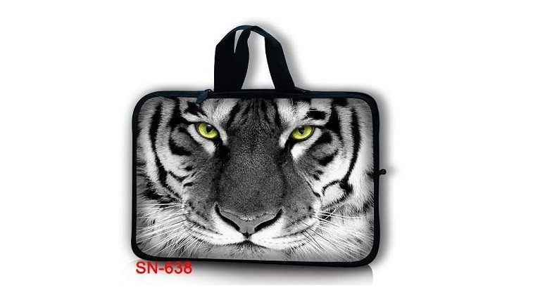 """Fashion !17.4"""" Tiger Face Carry Laptop Case Cover Handle Sleeve Pouch Holder Protector Neoprene Bag 17"""" 17.3"""""""
