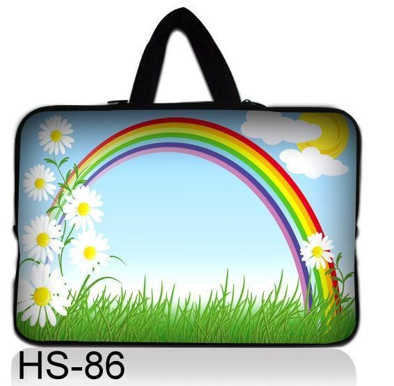"Colorful Rainbow 9.7"" 10"" 10.1"" inch 10.2"" Laptop Notebook Bag Carrying  Tablet PC Sleeve Case Cover pouch w/ Hide Handle"