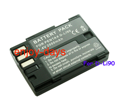 Free shipping new High Quality (2pcs/lot) replacement Batteries D-Li90 DLi90 D-L190 For Pentax K7 K5 645D video Camera