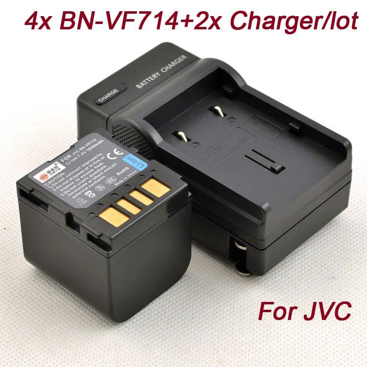 (4x BN-VF714 + 2 x Charger/lot) BN-VF714 VF714 VF714U for JVC GZ-MG60 GZ-MG505 GZ-MG57 + Charger DC32 Freeshipping