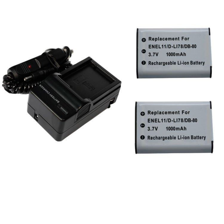 2x Battery+Charger for PENTAX D-Li78 DLi78 S1 M50 W60 V20 M60 L50 L60 W80