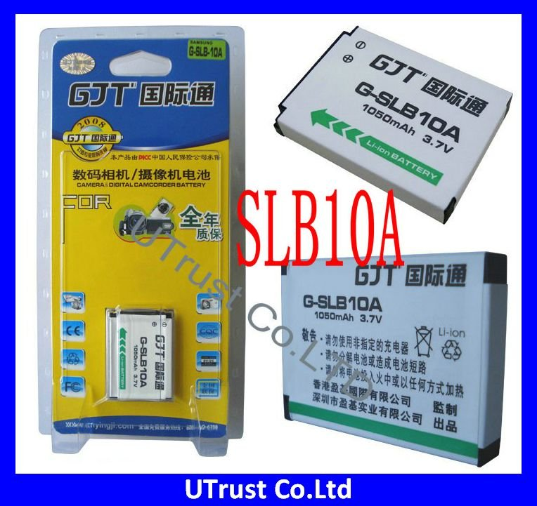 Free shipping 2pcs/lot New SLB-10A Rechargeable Li-ion Samsung Digital Camera Battery pack with 3.7V 1050mAh for Samsung Camera