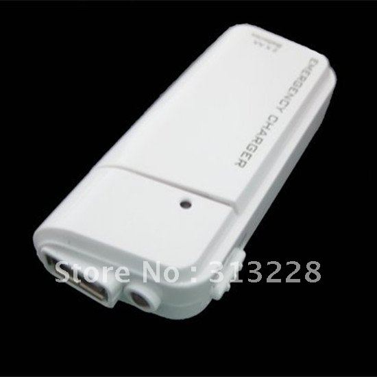 hot sale 50pcs AA Battery Emergency Charger with flashlight for iPhone 4&3G 3GS, iPod ,USB emergency charger Free shipping