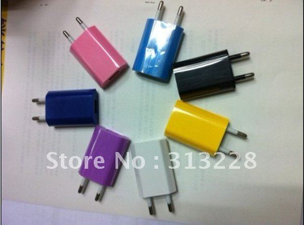 Brand new 200pcs Colorful AC Wall Power Adapter USB Travel Charger home Charger US plug/ EU Plug for iPhone 3G 4G