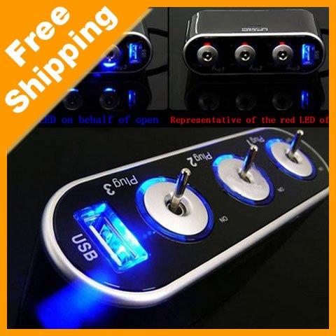Auto Car Cigarette Lighter Socket Splitter DC 12V+USB+LED light Charger Adapter (#2462)