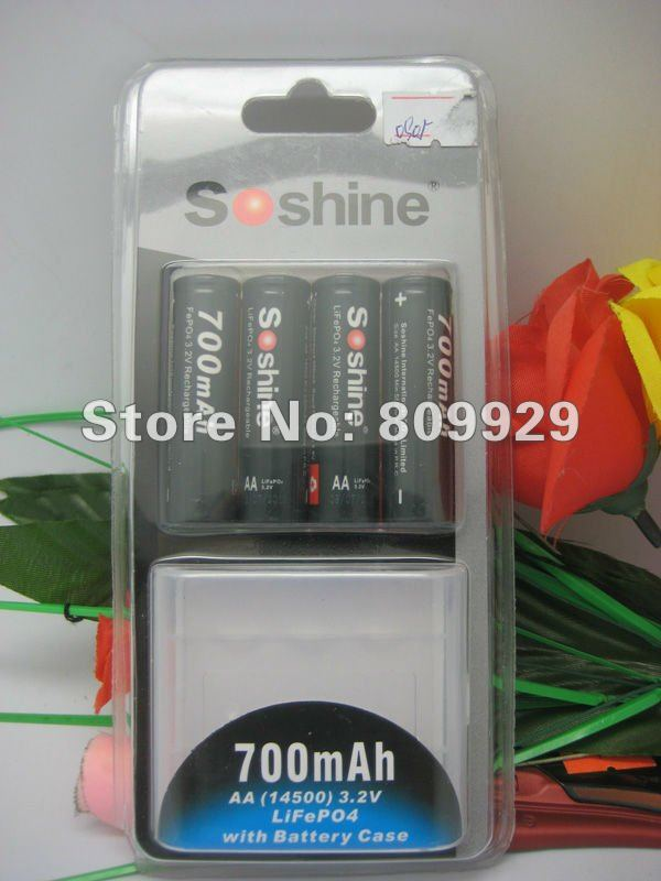 4pcs/lots   LiFePO4 AA(14500 )700mAh 3.2V Rechargeable Battery with Plastic Case