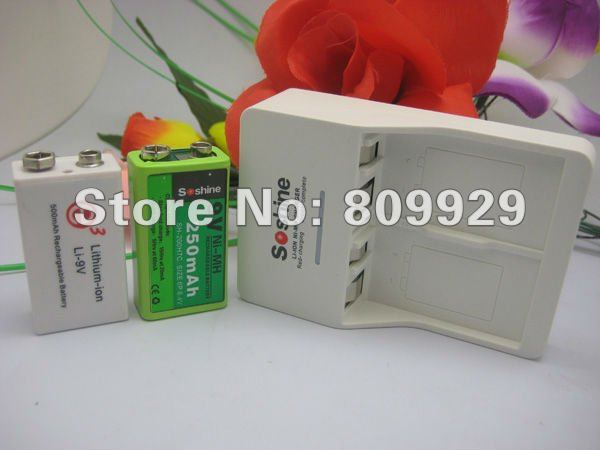 2012 new arrived 1pcs battery  charger + 2pcs Li-9V lithium battery for lithium-ion charger