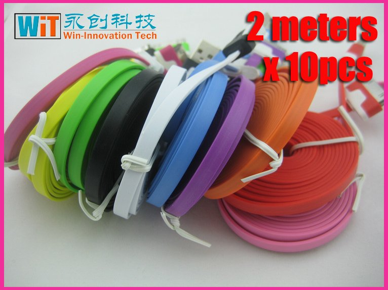 x10pcs for iphone 3gs 4g 4s new ipad 2 ipod 2 meters overlength cute colorful USB data sync charger cable new style A+ quanlity
