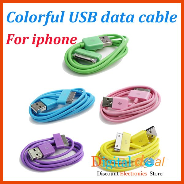 50pcs New Colorful USB Sync Data Charger Cable for Apple iPhone 3 4 4S 4GS Ipod
